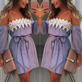 AED27 Women Off Shoulder Lace Dress Casual Sleeveless Party Short Mini Dress