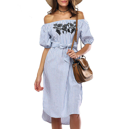 AED26 Women Off shoulder Dress Short Sleeve Slash Neck Striped Casual Dress