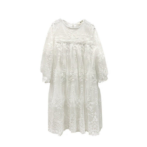 AEDW07 Kids Children Junior's Long Sleeves Dress Lovely Cute Lace Dance Sundress for Party Wedding