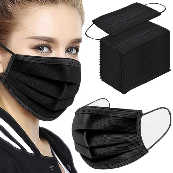 50PCS 3-Ply Black Disposable Face Mask Filter Protection