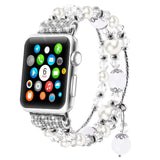 Fashion Elastic Stretch Crystal Pearl Bracelet Replacement Women iWatch Strap Band Compatible Apple Watch Series