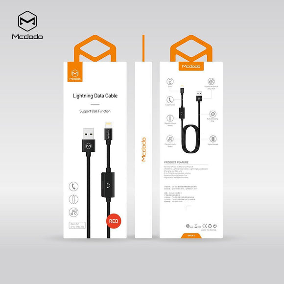 Mcdodo MT series 2 in 1 USB AM to lightning + lightning audio Cable 1.2m - Beauty Plaza