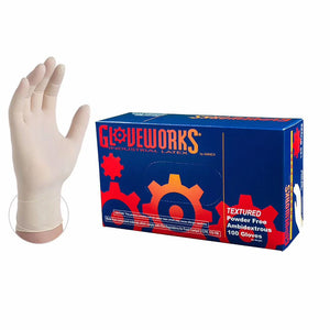 GLOVEWORKS Industrial White Latex Gloves - 4 mil, Powder Free, Textured, Disposable, Box of 100 - Beauty Plaza