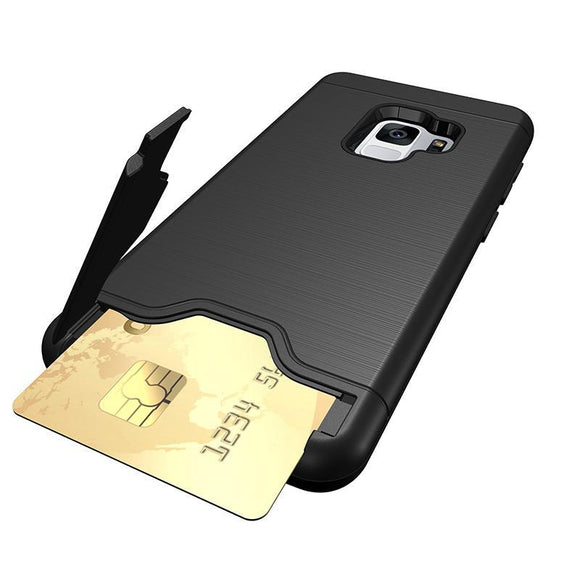 Wiredrawing Card Slot Shockproof Fit for Samsung Galaxy S9 or S9 Plus - Beauty Plaza