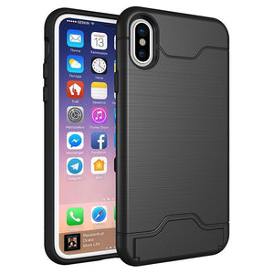 Shockproof Case with Card Slot for iPhone X - Beauty Plaza