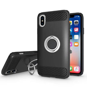 Carbon Fiber Shockproof Case with Finger Ring Iron Piece for iPhone X - Beauty Plaza