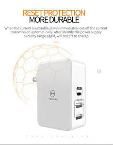 Mcdodo Quick charge USB Wall Charger with PD , Dual USB Ports + Type-C - Beauty Plaza