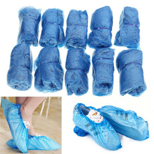 100pcs Waterproof Boot Covers Plastic Disposable Shoe Cover