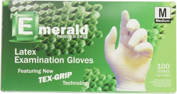 Emerald Latex Examination Gloves, Powder Free, Medium