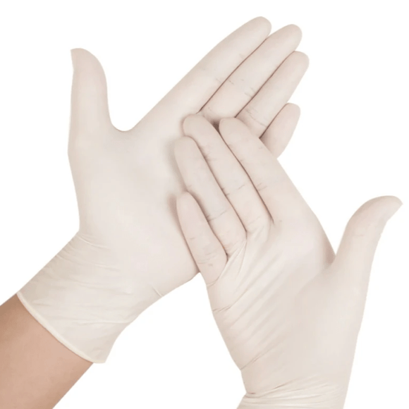 TouchFlex Latex Disposable Gloves - White Powder-Free, Box of 100 - Beauty Plaza