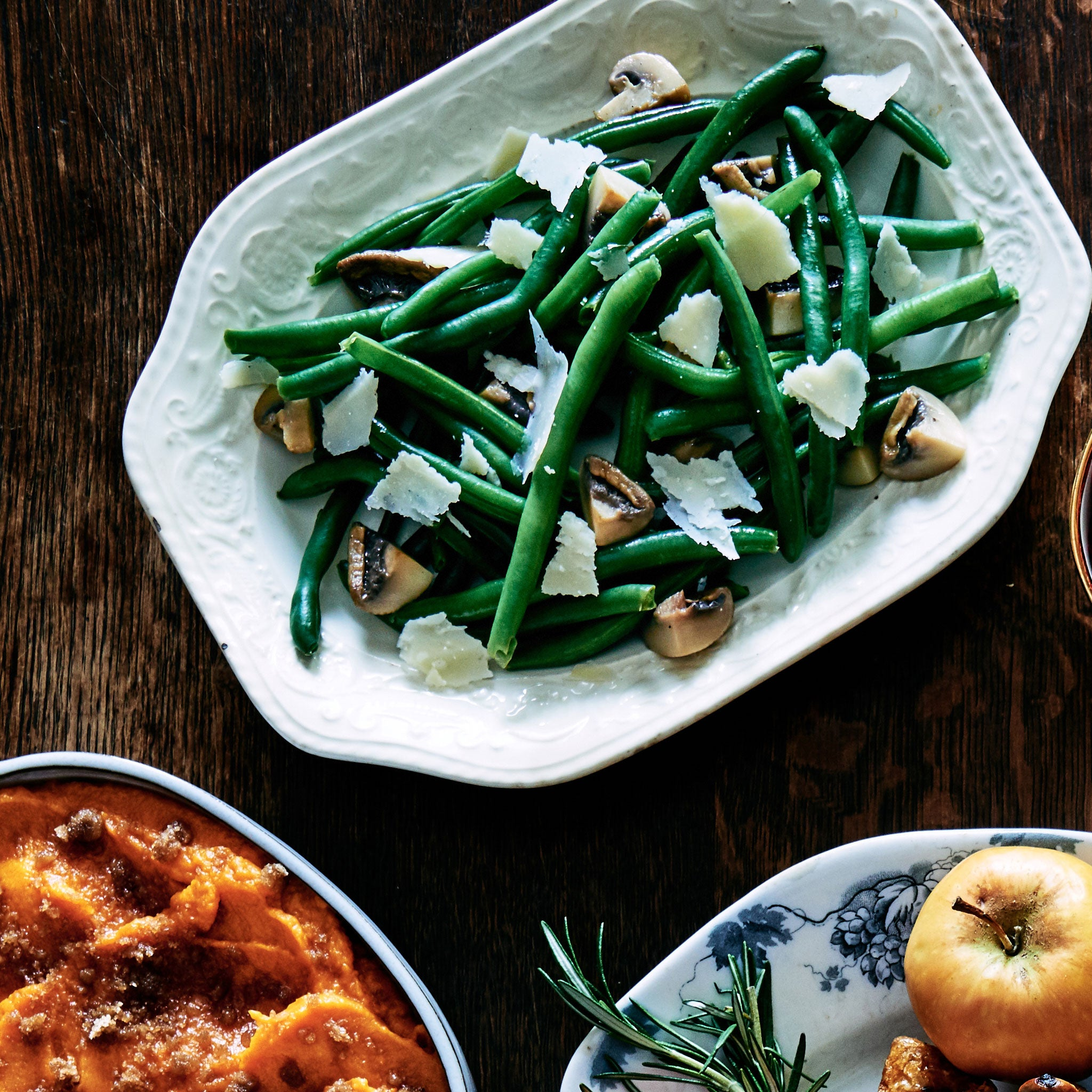 Haricot Verts with Roasted Mushrooms