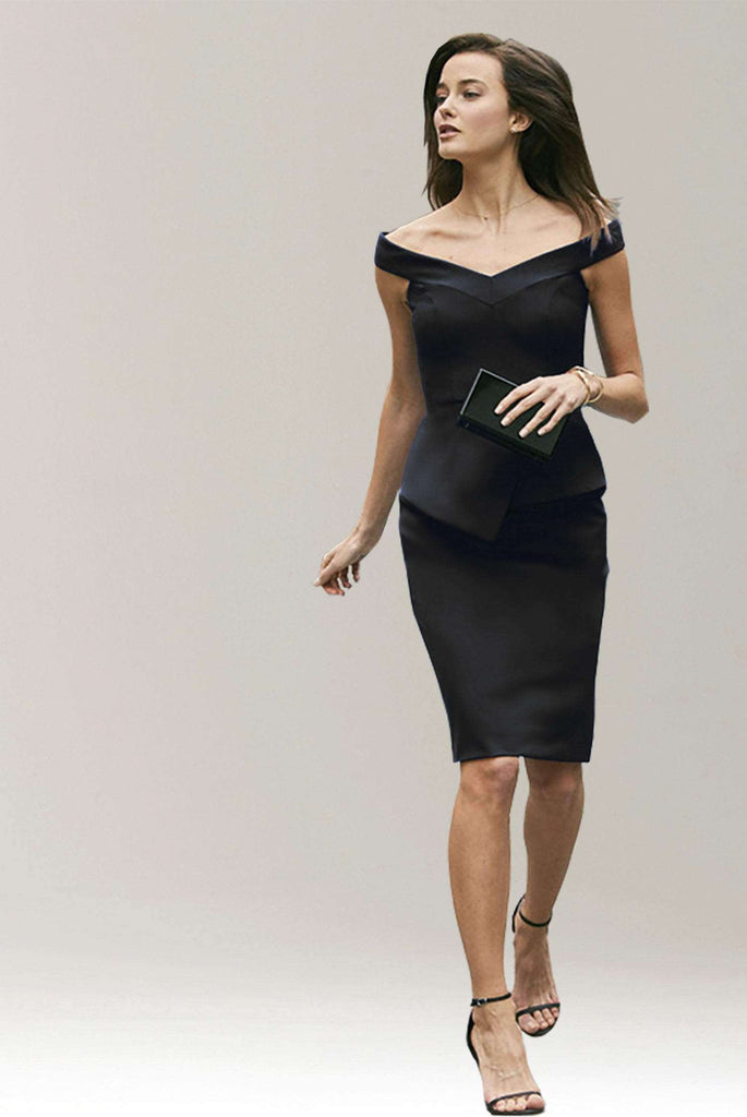 Meredith Off Shoulder Dress with Peplum...