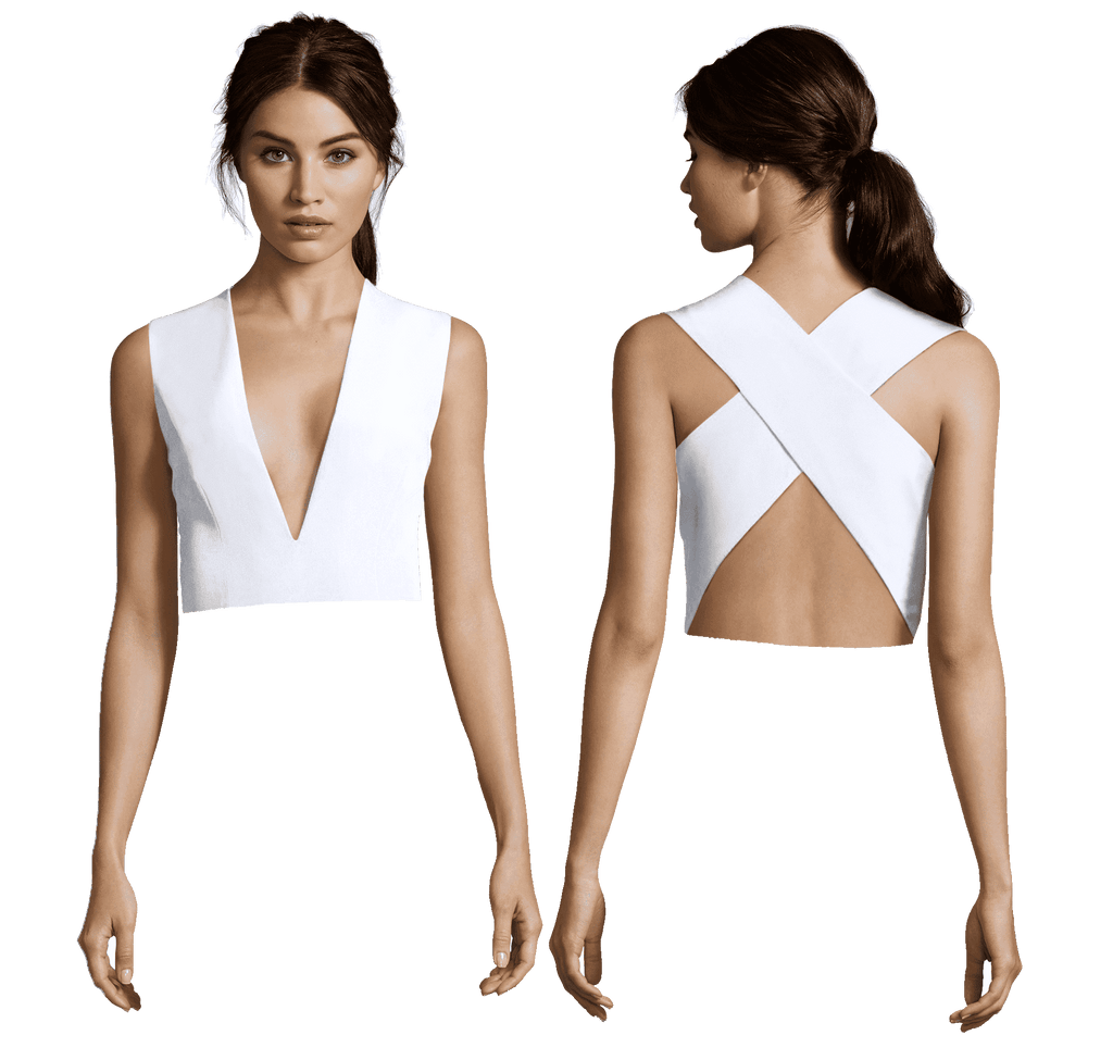 White Julia Plunging V Neck with Cross Back