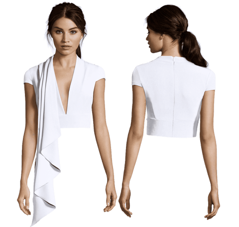 White Ashley Cascade with Plunging Neck and Cap Sleeve