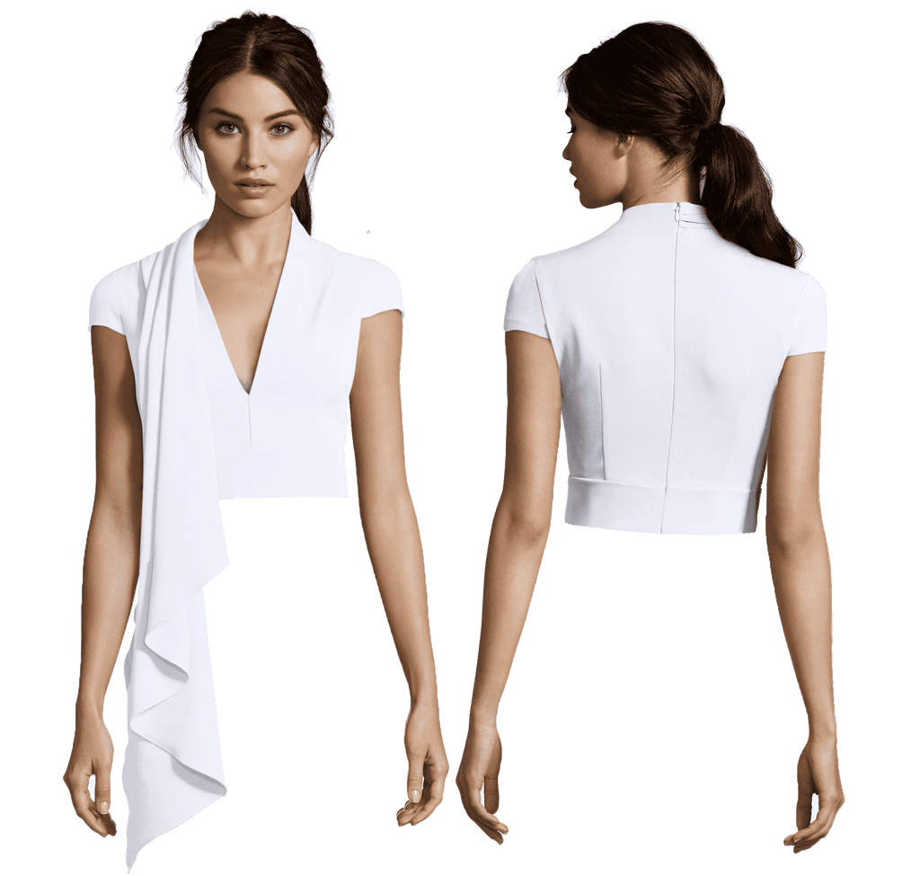 White Jackie Cascade with High V Neck and Cap Sleeve