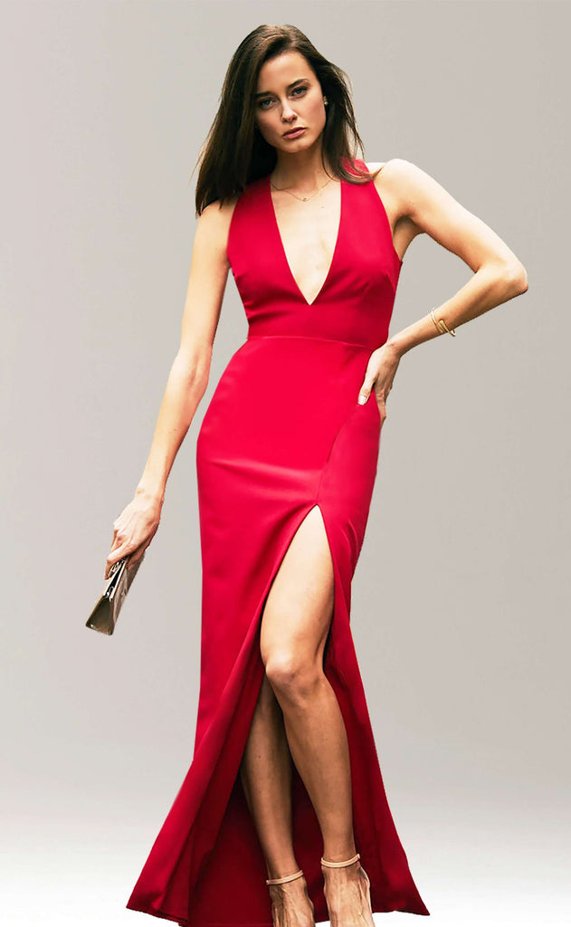 Julia Plunge Neck Gown with Slit