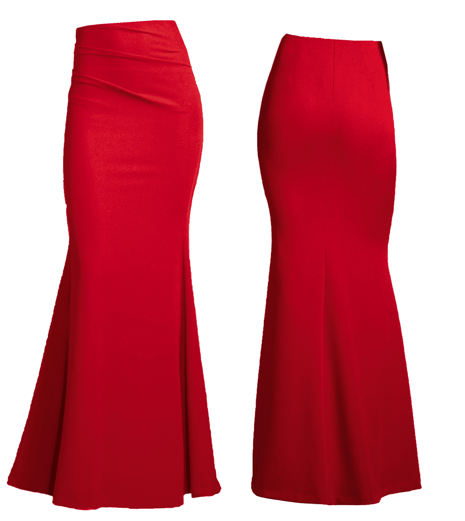 Fit & Flare Gown Skirt with Tucks