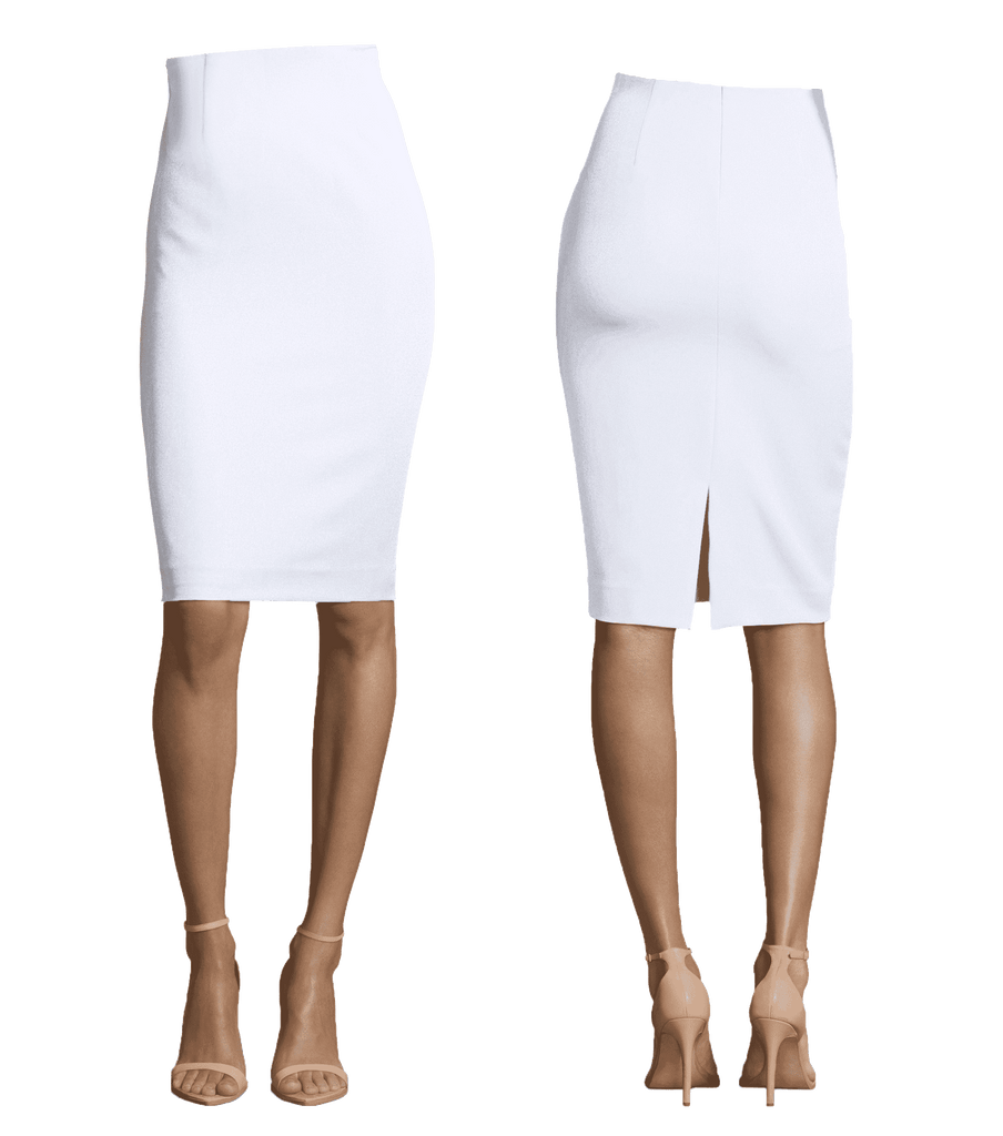 White Basic Pencil Length Skirt