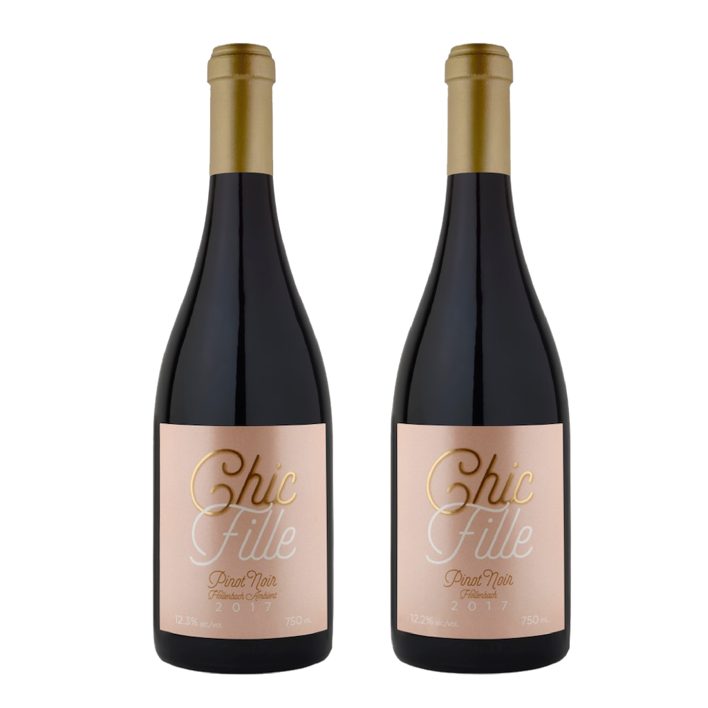 bottle of Chic Fille Hollenbach Pinot Noir and bottle of Chic Fille Hollenbach Ambient Pinot Noir