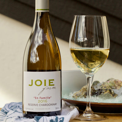 JoieFarm En Famille Reserve Chardonnay with plate of fresh oysters