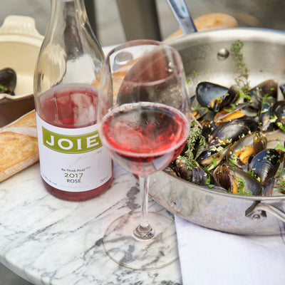 JoieFarm Rosé with fresh mussels