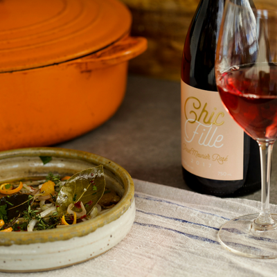 JoieFarm Chic Fille Pinot Meunier Rosé 2017 paired with Sardines