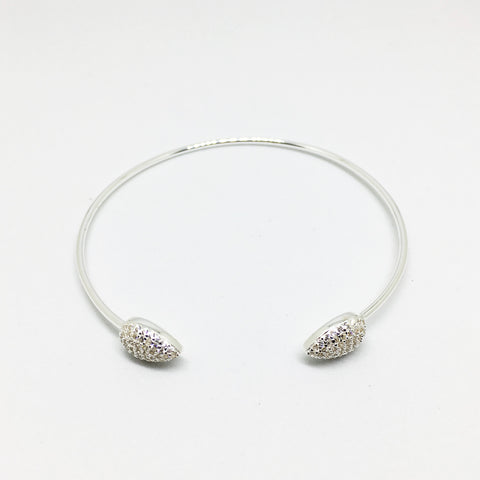 SILVER CUBIC ZIRCONIA TEARDROP TORQUE BANGLE