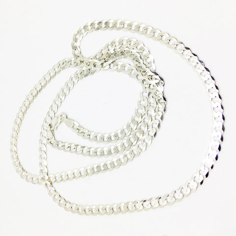 STERLING SILVER FLAT CURB CHAIN or BRACELET