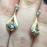 9CT GOLD DIAMOND CUT CUBIC ZIRCONIA TEARDROP EARRINGS