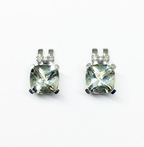 18CT WHITE GOLD GREEN AMETHYST AND DIAMOND STUD EARRINGS