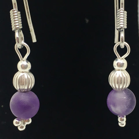 SILVER AMETHYST & FLUTED BEAD DROP EARRINGS