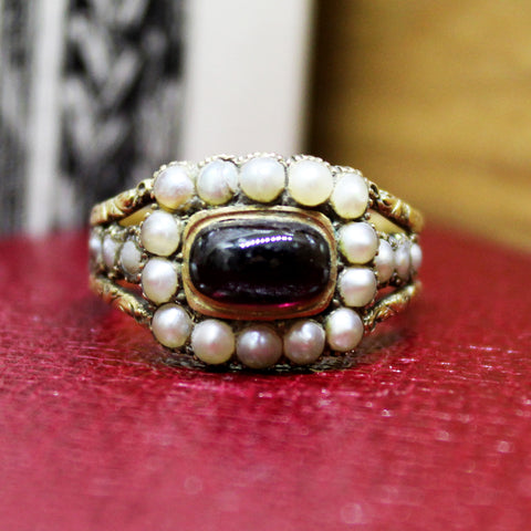 'CHARLOTTE' - ANTIQUE 15CT GOLD GARNET & SPLIT PEARL MEMORIAL RING