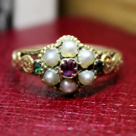 ANTIQUE 18CT GOLD PEARL, EMERALD AND ALMANDINE GARNET CLUSTER RING
