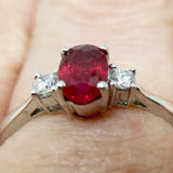 18CT WHITE GOLD RUBY & DIAMOND 3-STONE RING