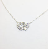 SILVER DOUBLE HEART CUBIC ZIRCONIA NECKLACE