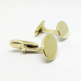 9CT GOLD PLAIN OVAL SWIVEL-BACK CUFFLINKS