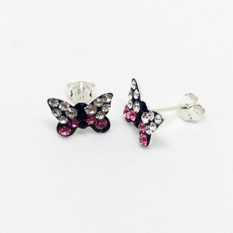 SILVER CRYSTAL BUTTERFLY STUDS