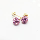 9CT GOLD BABY PINK DISCO BALL STUDS