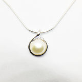SILVER CULTURED FRESHWATER PEARL AND CUBIC ZIRCONIA PENDANT