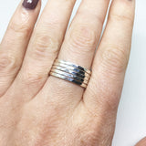 SILVER MULTI-BAND HAMMERED STACK RING