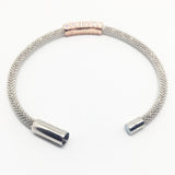 SILVER & ROSE GOLD VERMEIL CUBIC ZIRCONIA MESH BANGLE