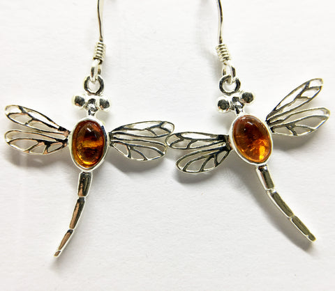 SILVER & AMBER DRAGONFLY DROP EARRINGS