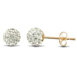 9CT GOLD DISCO BALL CRYSTAL STUD EARRINGS