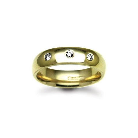 18CT YELLOW GOLD THREE STONE DIAMOND WEDDING RING