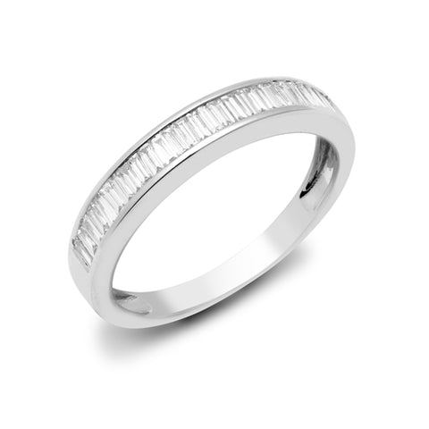 18CT WHITE GOLD .25CT DIAMOND BAGUETTE HALF ETERNITY RING