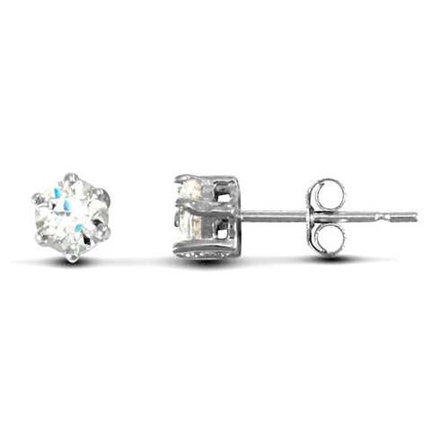 9CT WHITE GOLD CLAW SET CUBIC ZIRCONIA HEAVYWEIGHT STUDS