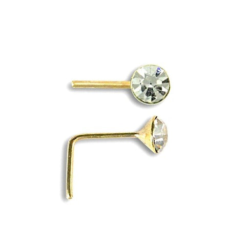 9CT GOLD 3MM CUBIC ZIRCONIA NOSE STUD