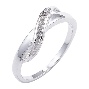SILVER CUBIC ZIRCONIA SET CROSSOVER RING