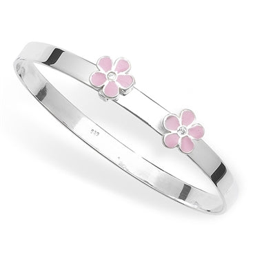 SILVER ENAMEL CUBIC ZIRCONIA CHILDS BANGLE