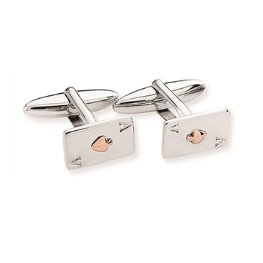 SILVER & ROSE GOLD VERMEIL 'ACE OF SPADES' CUFFLINKS